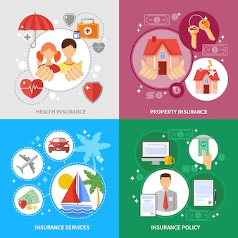 Set di icone di concetto di assicurazione