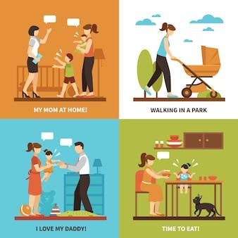 Set di icone di concetto di babysitter