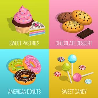 Set di icone di concetto di confetteria