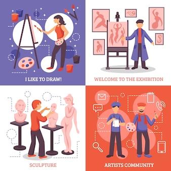 Set di icone di concetto di design di artisti