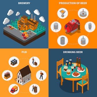 Set di icone di concetto di fabbrica di birra