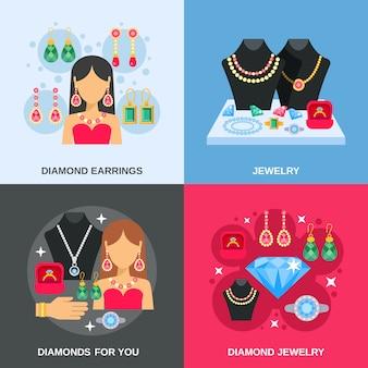 Set di icone di concetto di gioielli