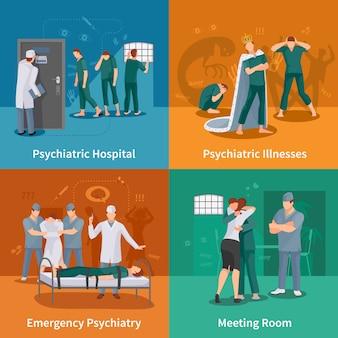 Set di icone di concetto di malattie psichiatriche