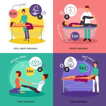 Set di icone di concetto di massaggio