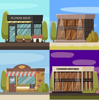 Set di icone di concetto di negozi