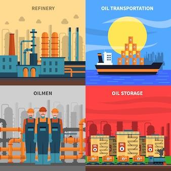 Set di icone di concetto di olio
