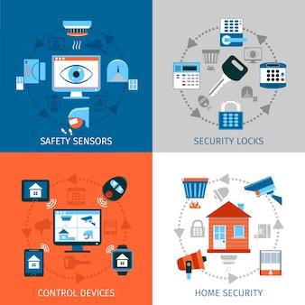 Set di icone di concetto di sicurezza domestica