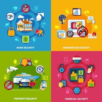 Set di icone di concetto di sicurezza
