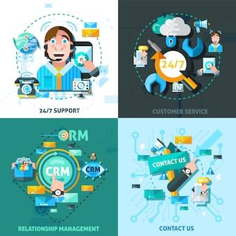Set di icone di concetto di supporto clienti
