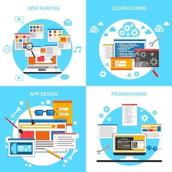 Set di icone di concetto di sviluppo web