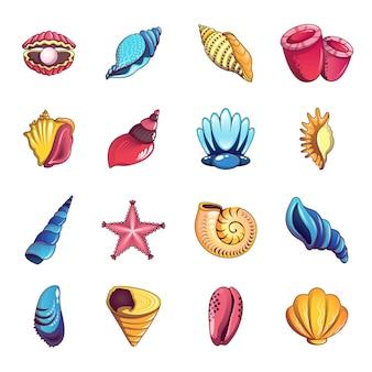 Set di icone di conchiglia di mare tropicale