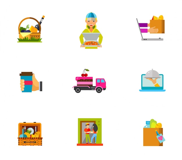 Set di icone di consegna di cibo
