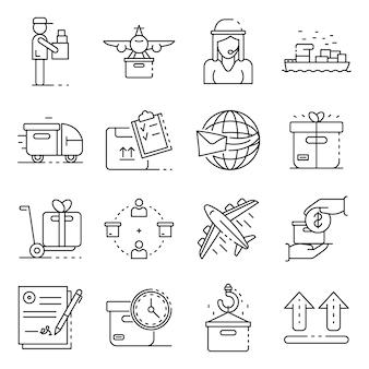 Set di icone di consegna pacchi. insieme del profilo delle icone di vettore di consegna pacchi