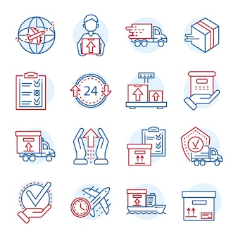 Set di icone di consegna pacco globale. insieme del profilo delle icone di vettore di consegna pacco globale