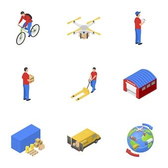 Set di icone di consegna postale, stile isometrico
