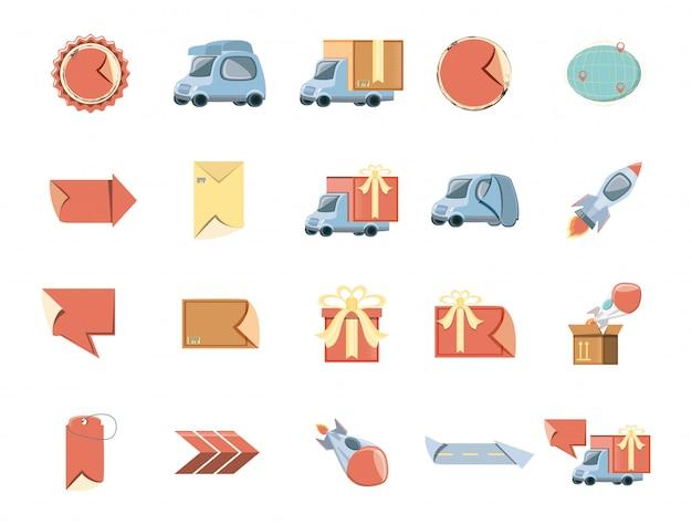 Set di icone di consegna