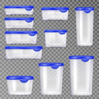 Set di icone di contenitori per alimenti in plastica