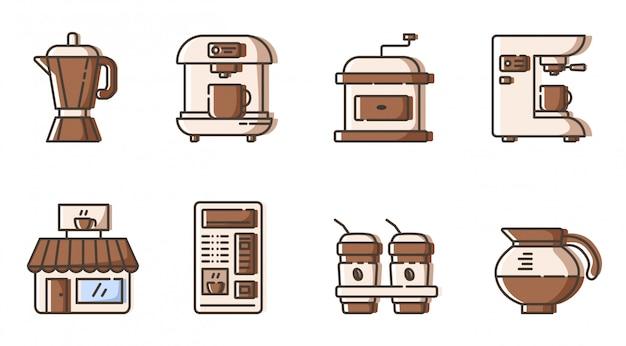 Set di icone di contorni - attrezzatura elettronica, caffettiera e mashine di fabbricazione del caffè
