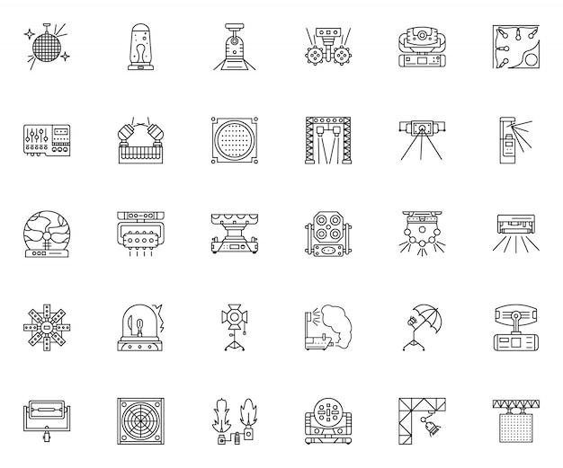 Set di icone di contorno attrezzatura luce festa