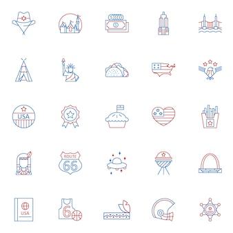 Set di icone di contorno di colore cultura usa due
