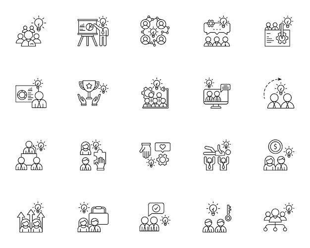 Set di icone di contorno di lavoro di squadra