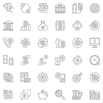 Set di icone di contorno di soldi. icone di concetto del dollaro
