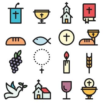 Set di icone di contorno piatto chiesa e comunità cristiana