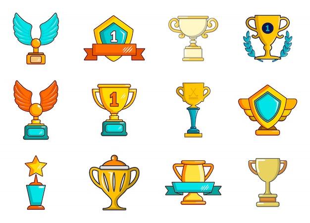 Set di icone di coppa d'oro. l'insieme del fumetto delle icone di vettore della tazza dell'oro ha messo isolato