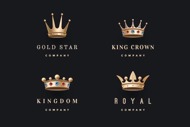 Set di icone di corone d'oro reale. emblema di lusso isolato. corone da collezione per persone reali, re, regina, principessa.