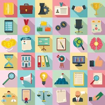 Set di icone di corporate governance, stile piano