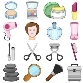 Set di icone di cosmetici e bellezza