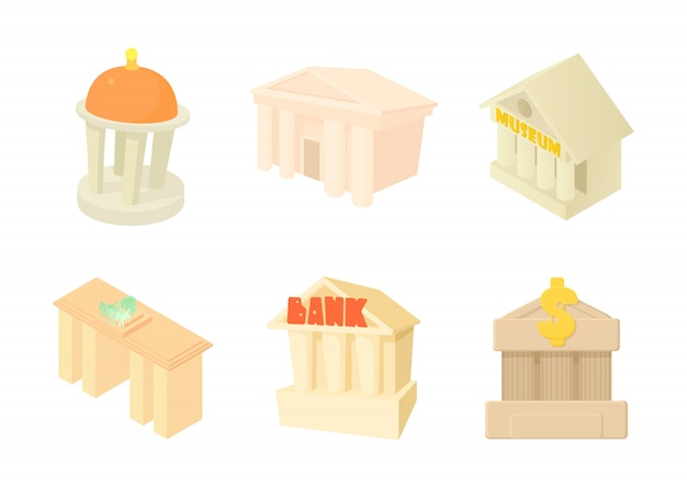Set di icone di costruzione di colonne