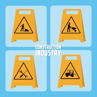 Set di icone di costruzione roadsign