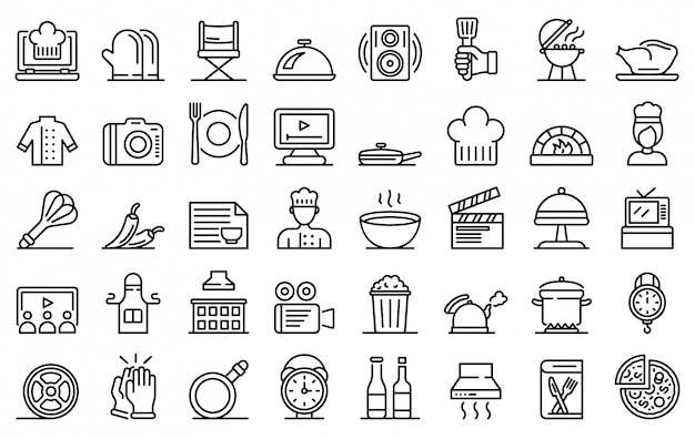 Set di icone di cottura spettacolo, struttura di stile