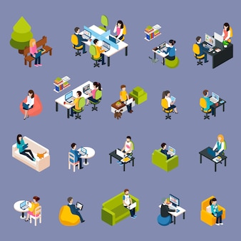 Set di icone di coworking persone