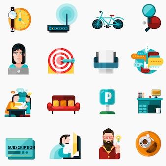 Set di icone di coworking