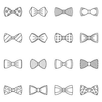 Set di icone di cravatta a farfalla. insieme del profilo delle icone di vettore di cravatta a farfalla