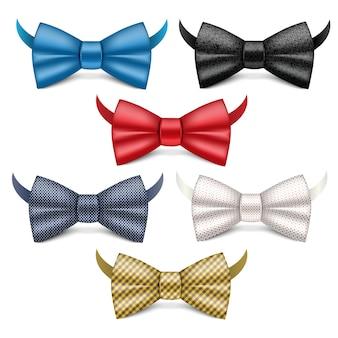 Set di icone di cravatta a farfalla. insieme realistico delle icone di vettore di cravatta a farfalla isolate