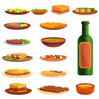 Set di icone di cucina greca