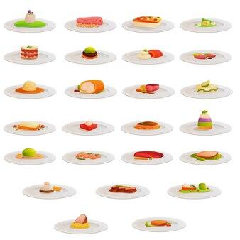Set di icone di cucina molecolare, stile cartoon