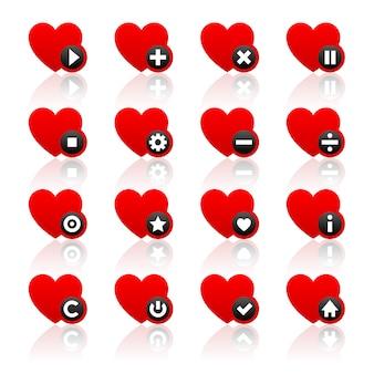 Set di icone di cuori rossi e pulsanti neri