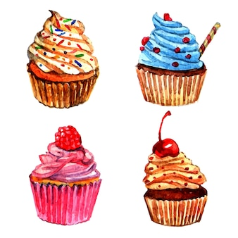 Set di icone di cupcakes dell'acquerello
