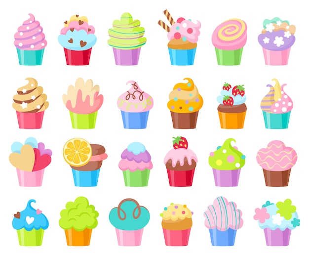 Set di icone di cupcakes.