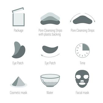Set di icone di cura della pelle del viso. pulire la pelle e mantenere la pelle sana. salute della pelle, raccolta di simboli.