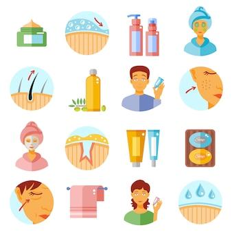 Set di icone di cura della pelle