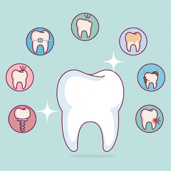 Set di icone di cure odontoiatriche