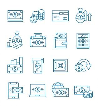 Set di icone di denaro con stile di contorno.