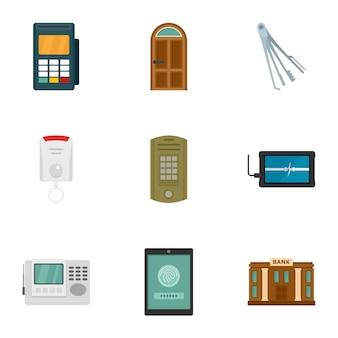 Set di icone di denaro sicuro. set piatto di 9 icone di denaro sicuro