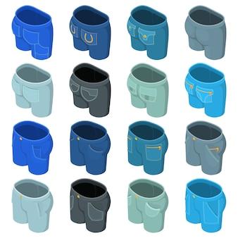 Set di icone di design tasche pantaloni. l'illustrazione isometrica di 16 icone di progettazione delle tasche dei pantaloni ha messo le icone di vettore per il web