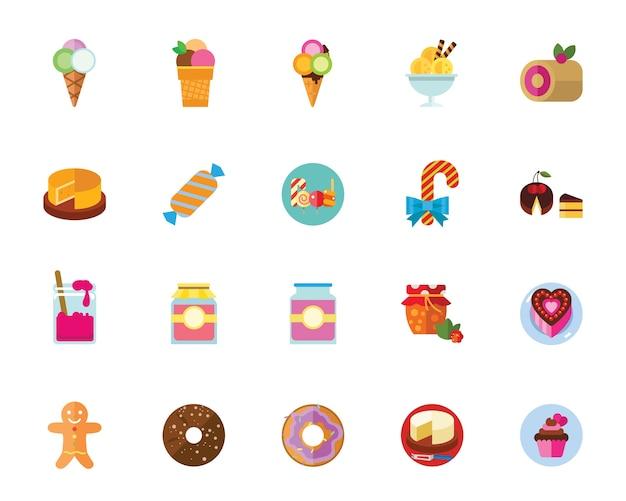 Set di icone di dessert